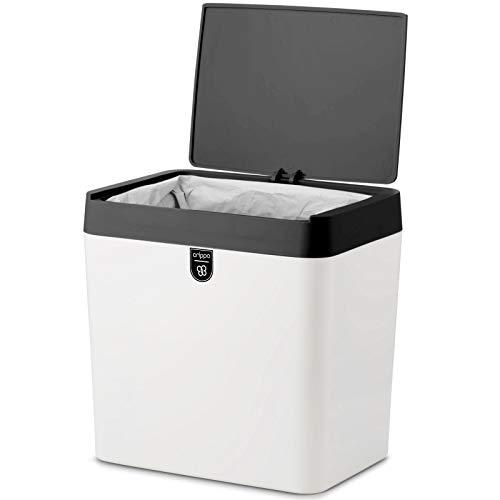 Crippa Countertop Trash Can  Mini Trash Can with Lid  15 Gallon Small Trash Bin  Kitchen Countertop Table Bathroom Office Desk Trash Can  Plastic Bathroom Wastebasket  WhiteBlack