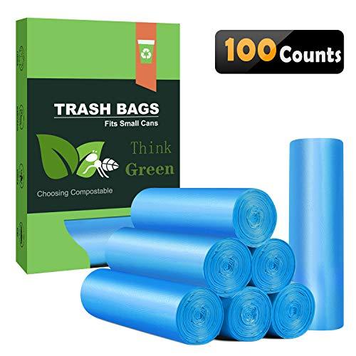 Small Trash Bags 4-6 Gallon Biodegradable Garbage BagsUnscented Leak Proof Compostable Bags Wastebasket Liners for OfficeHomeBathroom BedroomCarKitchenPet 100 Counts Blue