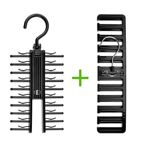 Bolford 1 Tie Rack and 1 Belt Hanger Set for Men Necktie Holder fits 20 Ties and Belt Racks Holds 10 Belts Perfect Hangers for a Closet Storage Organizer
