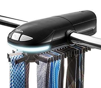 Sunbeam SB50 Tie Hanger Motorized Tie Rack with Built in LED Light Fits up to 50 Ties Belts