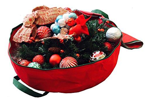 Heavy Duty Circular Christmas Wreath Storage Bag 30 Inch Premium Red Holiday Garland Storage Bag Red 30