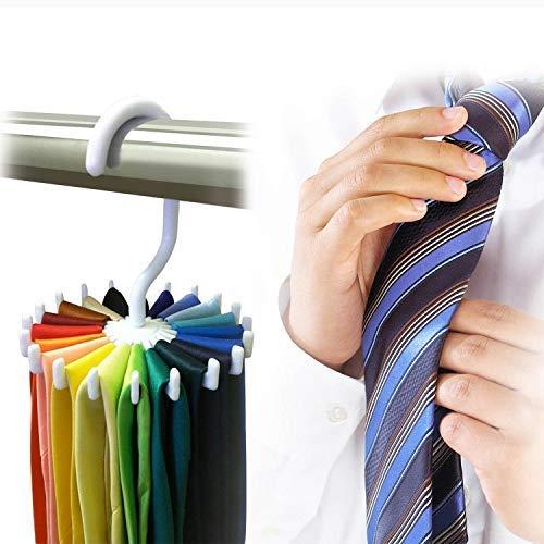 Adjustable 360° Rotating 20 Hook Neck Ties Organizer Men Tie Rack Hanger Holder Home Shawl Multi-Pack Bundle Strong And Bendable Brand New