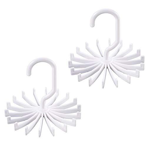 BAOZOON 2 Pack Tie Rack Twirling Tie Belt Hanger Holder 20 Hooks Closet Organizer Storage for Mens 360 Degree Rotating White
