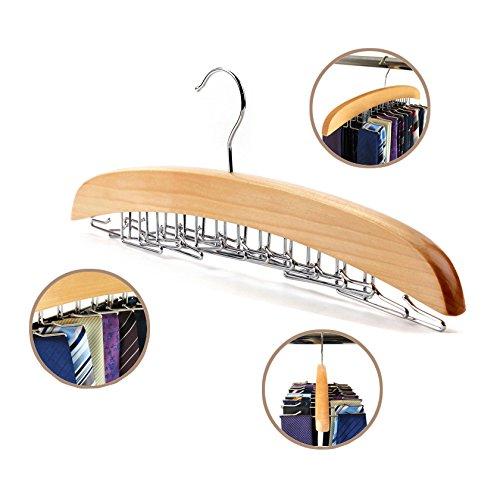 Dbao Pro Tie Rack for ClosetPremium Natural Wooden Tie Hanger Organizer with 24 Rotatable Swivel Metal Stainless Steel Hookfor Men Women Scarf Tie Belt Versatility Rack Organizer Hanger
