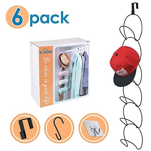B SHINE Cap Rack Hat Organizer - 6 Rings Hanging Caps Organizer Hats Scarfs Rack Multifunctional DoorWallCloset Mounted Racks Black
