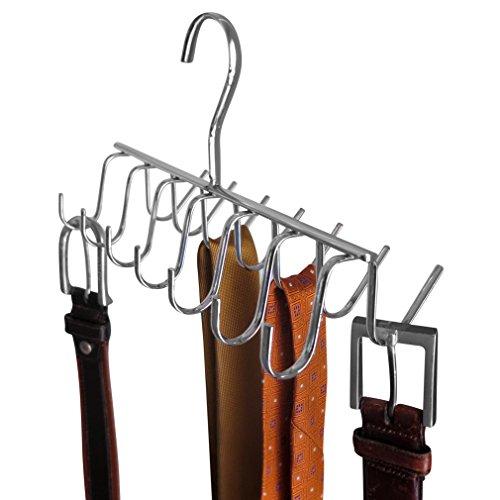 Evelots Closet HangerRack-BeltScarfTieNecklaceHandbag-Chrome Metal-14 Hooks