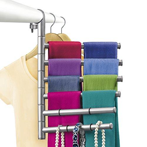 Lynk Hanging Pivoting Scarf Rack and Accessory Holder - Closet Hanger Organizer Rack - Platinum