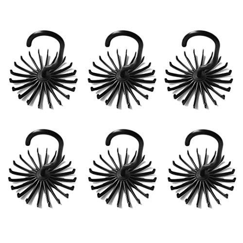 Zezzxu 6 PCS Tie Rack Belt Hanger Scarf Holder with 360 Degree Rotating Hooks for Closet Organizers Black