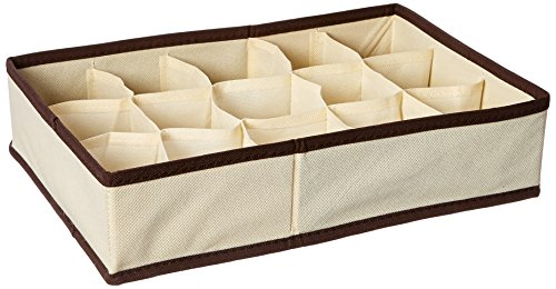 FURINNO CM1228IV Collapsible Storage Boxes Socks Underwear Ties Closet Organizer Drawer Divider Set Ivory