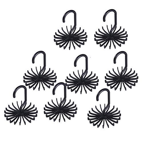 Yardwe 8pcs Tie Rack Hanger Necktie Closet Storage Rack Rotating Scarf Belt Organizer Holder Black