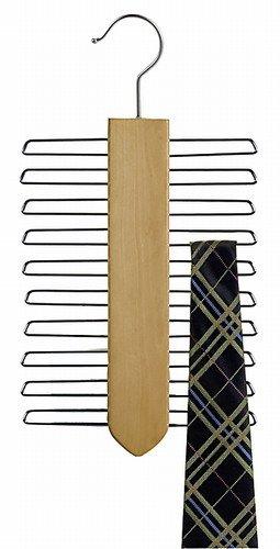 Only HangersNatural 20-TiesBelts Wood Hanger Beech Wood Tie Hanger Wooden Multifunctional Accessories Hanger Chrome Hardware 2-Pack