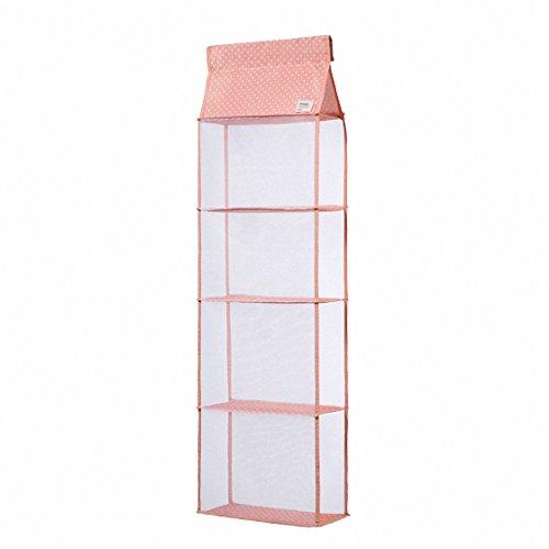 IDecHome Hanging Handbag Organizer 4 Shelfs Closet Storage Purse Rack File Polka Dot