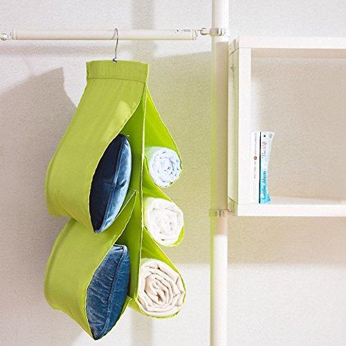 IDecHome Washable Nylon Hanging Handbag Organizer 5 Pockets Closet Storage Purse Rack File Shiny Green
