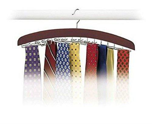 Hardwood Walnut 24 Tie Hanger Clost Accessories Mens Necktie Belt Organizer