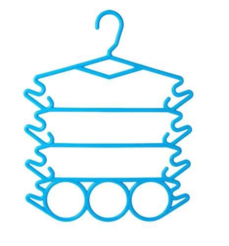 Multifunctional clothes hanger underwear underwear clothes hanger scarf silk scarf frame plastic multilayer trousers rack necktie belt hangerset of 5Blue