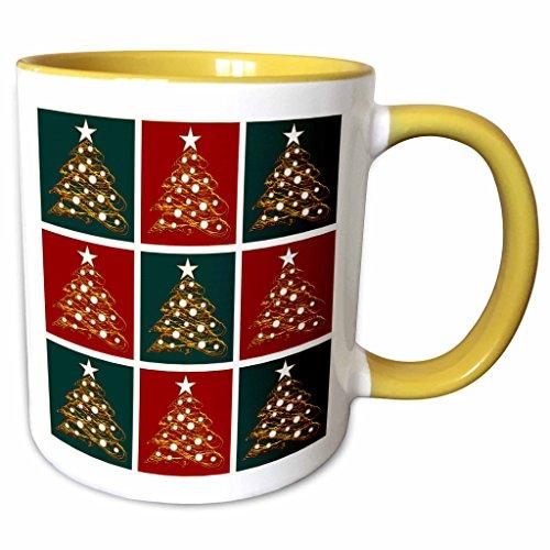 3dRose Houk Digital Design Holidays - Christmas - Cute Christmas Trees Box Pattern Green and Red - 11oz Two-Tone Yellow Mug mug_41773_8