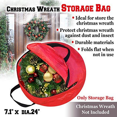 BenefitUSA Heavy Duty Christmas Wreath Storage Bag For 24-Inch Wreaths