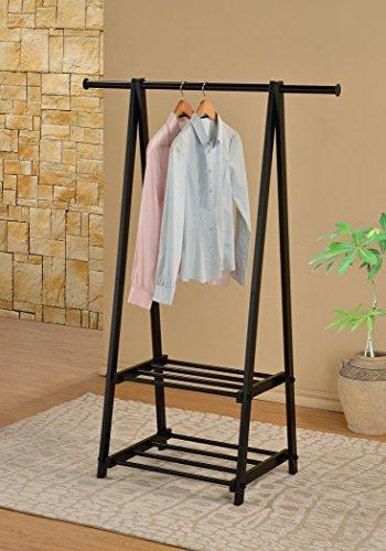 Black Finish Metal 2-tier Coat Hat Rack Garment Drying Rack Clothes Shoe Entryway Organizer