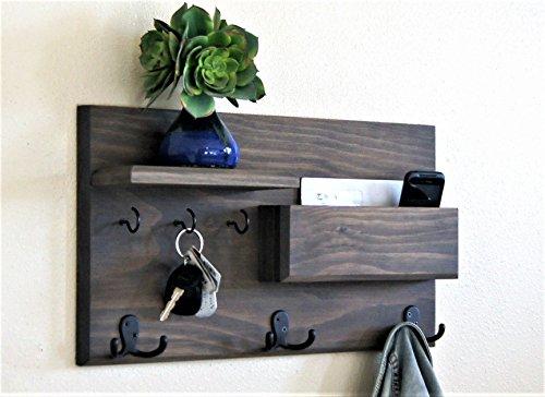 Entryway Organizer Coat Rack Driftwood Weathered Gray Key Hooks and Mail Storage