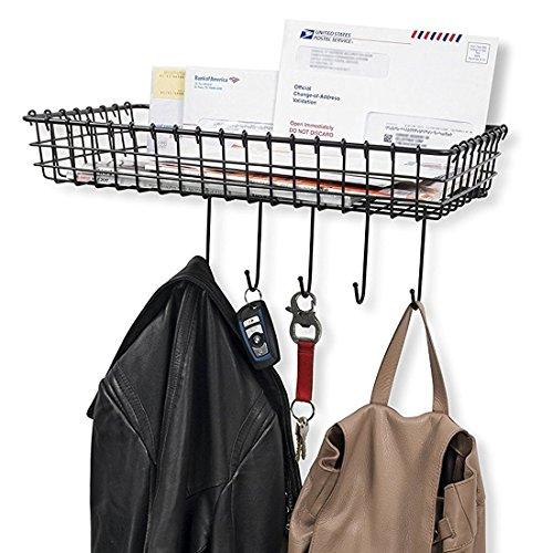 Sturdy Wire Organizer Bin Storage with 5 Hooks Wall Mountable Coat Rack Key Hooks for Foyer or Entryway in Black