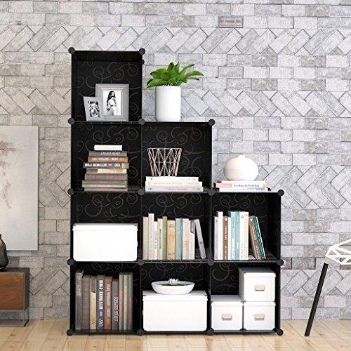 12-Cube Modular DIY Storage Cube Organizer by Tespo 4 tier Shelving Bookcase Cabinet Closet Black 9 - Regular Cube