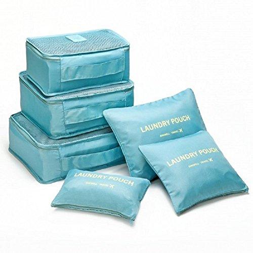 Sfb Travel Storage Cube Bag 6 Pcs Set Organize Pouch Light Blue
