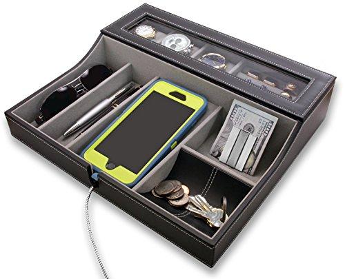 HoundsBay Big Dresser Valet Tray for Men with Watch Box Jewelry Organizer Angled Charging Station Grey