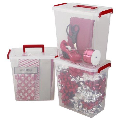 IRIS 3-Piece Holiday Ribbon and Bow Storage Set Small