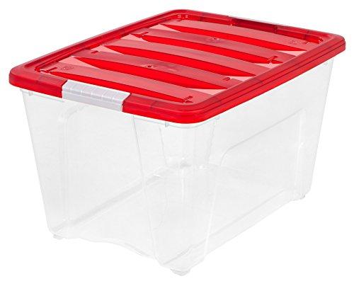 IRIS USA 100266 Holiday Storage Tote Red