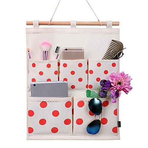 Homecube Linen Cotton Fabric Wall Door Cloth Hanging Storage Bag Case 5 Pocket Home Organizer Red Polka Dots