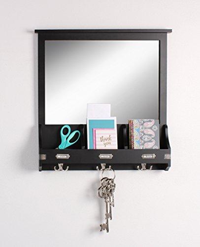 Kate and Laurel 209303 Stallard Decorative Rustic Wood Mirror Wall Home OrganizerBlack