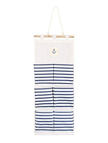 TIRSU LinenCotton Fabric Wall Door Cloth Hanging Storage Bag Case 6 Pocket Home Organizer blue Stripe