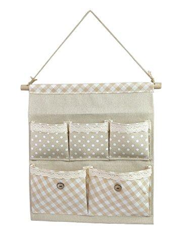 Tandi LinenCotton Fabric Wall Door Closet Hanging Storage Bag Case 5 Pocket Home Organizer White Polka Dots