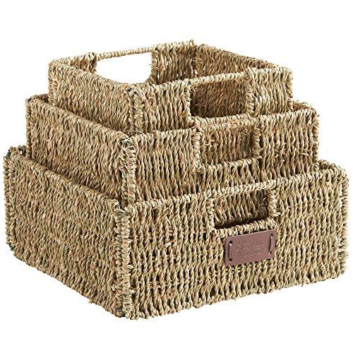 VonHaus Set of 3 Square Seagrass Storage Baskets with Insert Handles - Bathroom Home Organizer Baskets