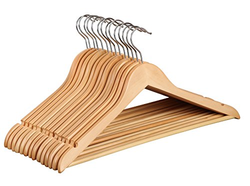 Finnhomy 20 Pack Wooden Hangers - Solid Wood Suit Coat Hangers - Sturdy Clothes Hangers with Non-slip Hanging Bar Natural