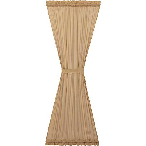 VHC Brands Farmhouse Curtains Tobacco Cloth Rod Pocket Cotton Tie Backs Sheer Solid Color Door Panel Khaki Tan
