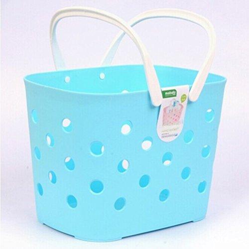 LEORX Plastic Storage Baskets for Bathroom ,Closet Office Garage Blue