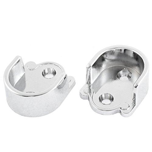 uxcell 25mm Dia Clothes Closet Rod Flange Holder Bracket Silver Tone 2 Pcs