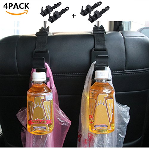 4 Pack Car Back Seat Headrest Hanger Storage Organizer - Car Vehicle Back Seat Hooks - Prevent PursesHandbagsCoatsGrocery Bags and Water Bottle from Spilling or Rolling 4PACK