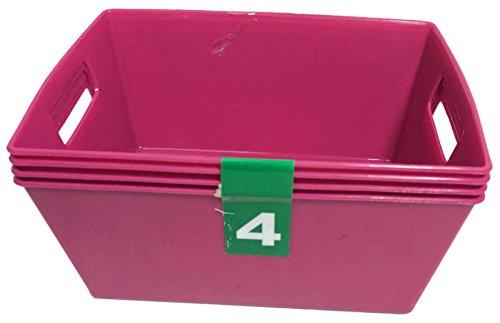 Multi-Purpose Mini Plastic Storage Baskets ~ 4 Pack Maroon