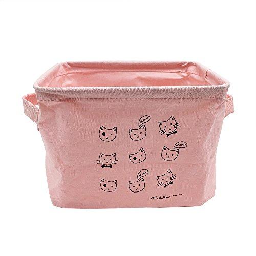 Mziart Small Fabric Storage Basket with Handle Foldable Canvas Mini Storage Bin Organizer for Nursery Kids Toys Babies Room Pink Cat