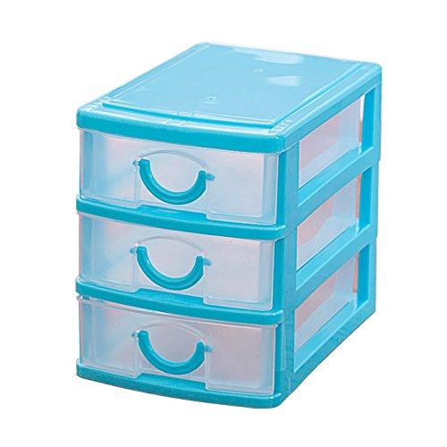 SODIALRMini translucent Drawer type plastic Storage Box£¨Blue 3 Layers£