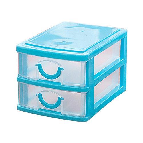 TOOGOORMini translucent Drawer type plastic Storage Box£¨Blue 2 Layers£