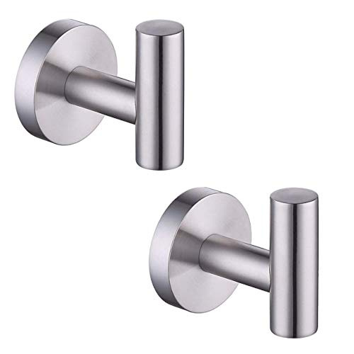 KES Bathroom Wall Towel Hooks No Drill Heavy Duty Robe Hook Holder SUS304 Stainless Steel Brushed 2 Pack A2164DG-2-P2