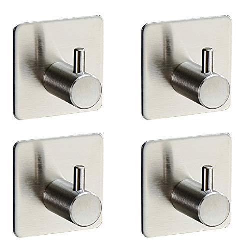 4-Pack RobeTowel Hook Self Adhesive SUS 304 Stainless Steel Brushed Nickel Bathroom Kitchen Organizer