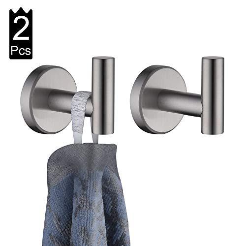 JQK Bathroom Towel Hook Coat Robe Clothes Bath Wall Hooks for Kitchen Garage 2 Pack Brushed Finish A1160-BN-P2