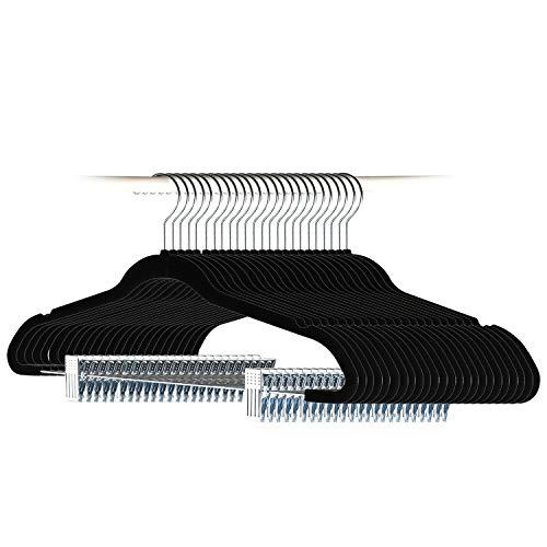 Tosnail 24 Pack Velvet Hangers Skirt Hangers Pants Hangers with Clips and Swivel Hook - Black