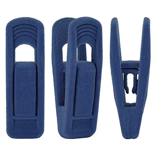 Trgowaul 20 Pack Velvet Pants Hanger Clips Finger Clips for Hangers Strong Pinch Grip Clips for Use with Slim-line Clothes Hangers Clips for Velvet Hangers Dark Blue