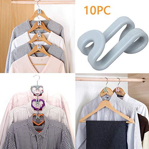 Clothes Hanger Connector Hooks Mini Cascading Hanger Hooks for Velvet Huggable Hangers Heavy Duty Space Saving for Closet Grey 10 Pcs