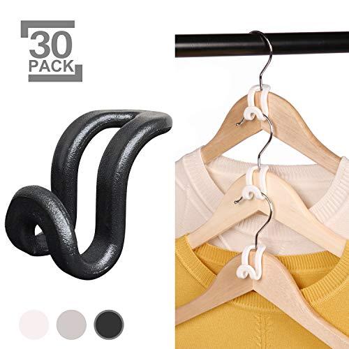 KEAEF Clothes Hanger Connector Hooks Mini Cascading Hanger Hooks for Velvet Huggable Hangers Wooden Hangers Heavy Duty Space Saving for Closet Black 30